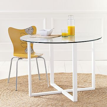 Striped Chair Inspiration Files - West elm round glass dining table